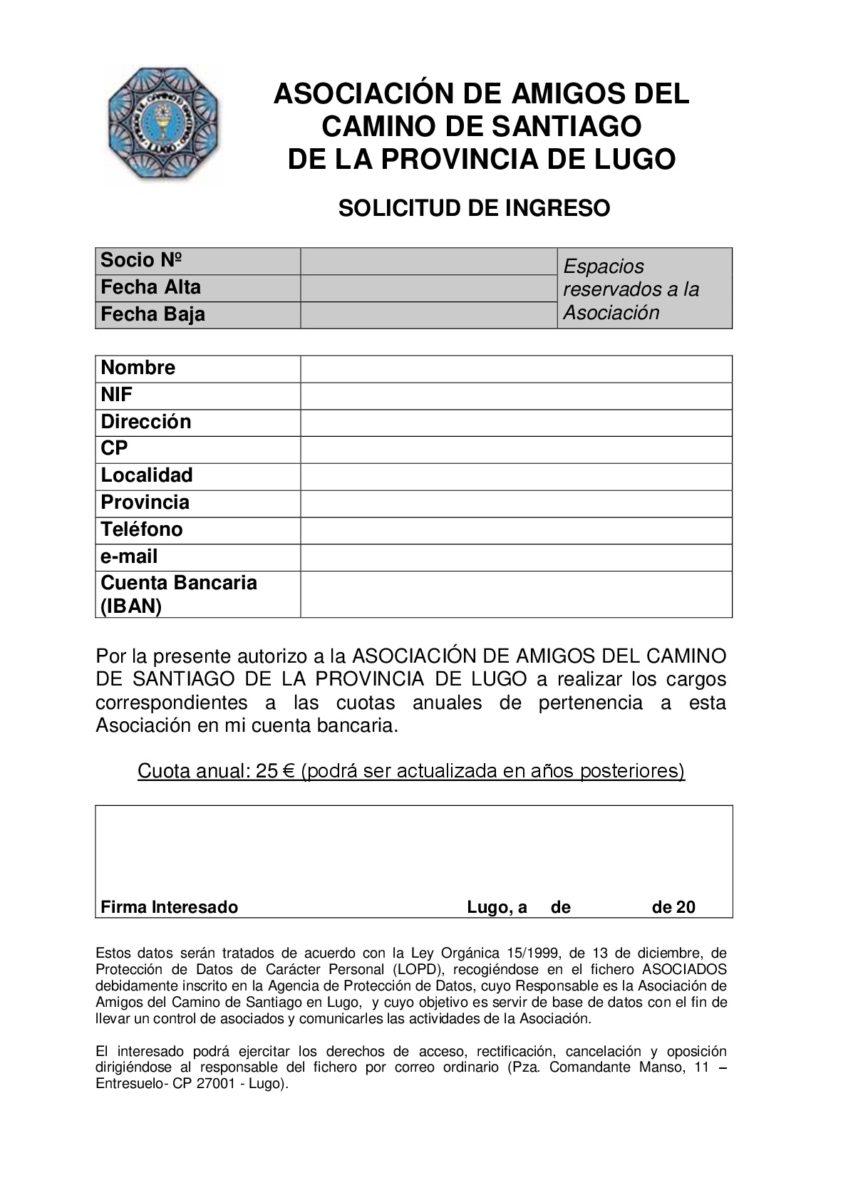 Impreso de inscripción en Asociación Amigos del Camino de Santiago en Lugo